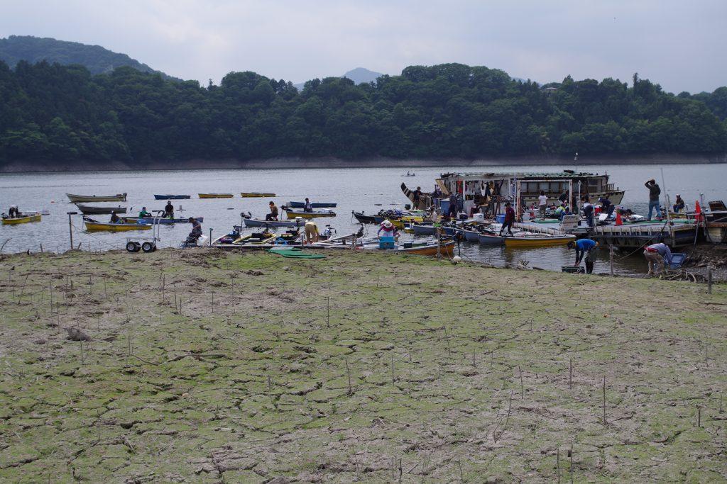 減水の津久井湖