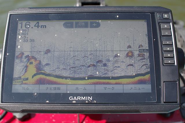 津久井湖のワカサギ魚群探知機ガーミン